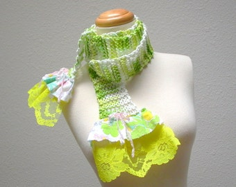 holly go sprightly. cotton knit scarf . lightweight summer eco fashion accessories . vintage floral fabric lace ruffles . green yellow white