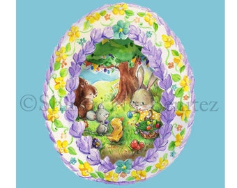 Happy Easter, Happy Spring, Easter Panoramic Sugar Egg