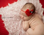 15% off order Valentine's Day baby headband { Heart Throb } red shabby heart with bow, newborn photography prop ready to ship