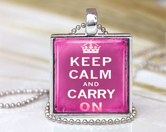 Vintage Keep Calm And Carry On Pendant Pink
