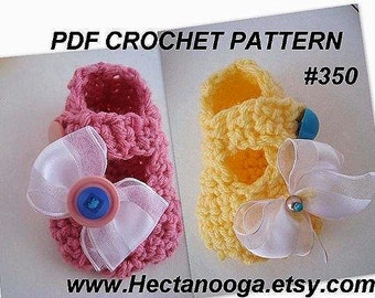 CROCHET Pattern Booties Slippers, num. 350... Cheerful, MARY JANE Booties... sizes Newborn to 12 Months ok to sell your finished booties.