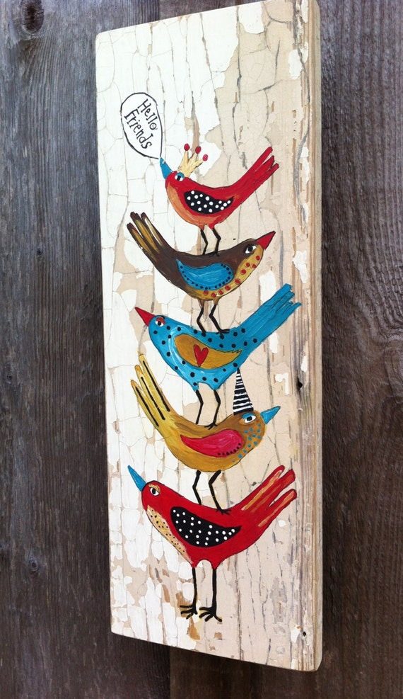 Hello birds shabby chic painting on flakey wood by evesjulia12 - Cuadros shabby chic ...