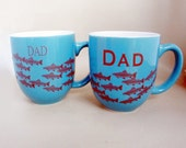 Ceramic Fishing Mug for Dad - Extra Large Coffee Cup - 14 oz - Same Day Shipping