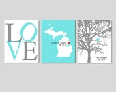 Modern Newlywed Trio - Set of Three 8x10 Customizable Prints - Love, Family Established Bird Tree,  Love State Map - GREAT WEDDING GIFT