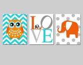 Nursery Art Trio - Chevron Owl, Elephant Love, Polka Dot Elephant - CHOOSE YOUR COLORS - Set of Three 8x10 Prints