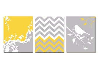 Chevron, Bird on a Branch, Cherry Blossom Trio - Set of Three 11x14 Prints - Nursery Art - CHOOSE YOUR COLORS - Shown in Pale Gray, Yellow