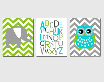 Modern Nursery Trio - Chevron Elephant, Modern Alphabet, Chevron Owl - Set of Three 8x10 Prints - CHOOSE YOUR COLORS