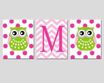 Owl Nursery Wall Art Trio - Set of Three 8x10 Prints - Polka Dot Owls and Chevron Monogram Initial - Kids Wall Art - CHOOSE YOUR COLORS