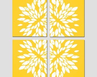 Large Scale Abstract Floral Kaleidoscope Quad - Set of Four 11x14 Flower Burst Prints - CHOOSE YOUR COLORS - Shown in Gray, Yellow and More