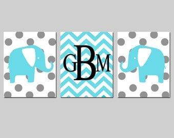 Nursery Art Trio - Set of Three 8x10 Prints - Polka Dot Elephants, Chevron Monogram - CHOOSE YOUR COLORS - Shown in Aqua, Gray, and More