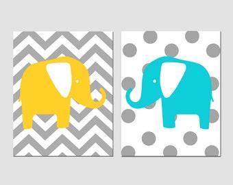 Modern Elephant Duo - Nursery Decor - Set of Two 11x14 Chevron Zig Zag Polka Dot Prints - Kids Wall Art - CHOOSE YOUR COLORS