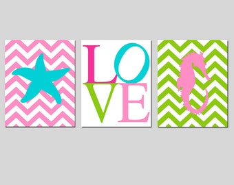 Kids Wall Art - Nautical Nursery - Set of Three 11x14 Prints - Chevron Starfish, LOVE Typography, Chevron Seahorse - Choose Your Colors
