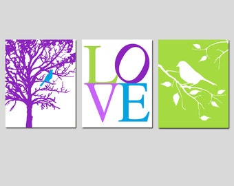 Girl Nursery Art Toddler Bedroom Art Bird Tree Love Trio - Set of Three 8x10 Prints - CHOOSE YOUR COLORS - Shown in Purple, Green, and More