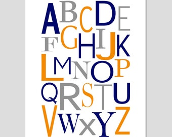 Modern Alphabet - 11x14 Print - Kids Wall Art for Nursery or Playroom - Educational - CHOOSE YOUR COLORS