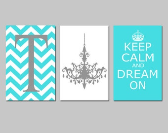 Keep Calm and Dream On, Chevron Monogram Initial, Chandelier Trio - Set of Three 11x17 Prints - Choose Your Letter and Colors