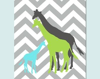 Giraffe Family Nursery Art Decor - 11x14 Chevron Zig Zag Print - Kids Wall Art - Boy or Girl - CHOOSE YOUR COLORS