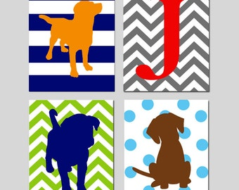 Puppy Dog Nursery Art - Kids Wall Art - Set of Four 8x10 Prints - Initial - Stripe, Chevron, Polka Dot Puppy Dogs - CHOOSE YOUR COLORS