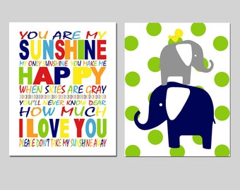 Nursery Art Duo - You Are My Sunshine, Polka Dot Elephant Bird Stack - Set of Two 8x10 Prints - CHOOSE YOUR COLORS