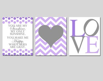 Baby GIRL Nursery Art Trio - Kids Wall Art - You Are My Sunshine, Chevron Heart, LOVE - Set of Three 8x10 Prints - Choose Your Colors