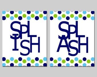 Kids Bathroom Wall Art Print Set - Pick TWO 8x10 Polka Dot Prints - Wash, Brush, Soak, Splish, Splash, Flush - Choose Your Colors