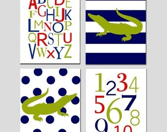 Baby Boy Alligator Nursery Art Quad - Alphabet, Numbers, Stripe Polka Dot Alligators - Set of Four 8x10 Prints - CHOOSE YOUR COLORS