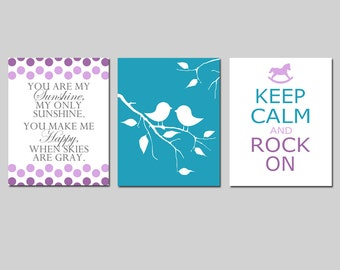 Baby Girl Nursery Art Trio - Set of Three 8x10 Prints - You Are My Sunshine, Baby Birds, Keep Calm and Rock On - CHOOSE YOUR COLORS