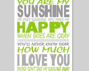 You Are My Sunshine, My Only Sunshine - 5x7 Print - Modern Nursery Decor - Kids Wall Art - CHOOSE YOUR COLORS