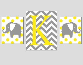 Nursery Trio - Set of Three Prints - 8x10 and 11x14 - Monogram Elephants - Chevron, Stripe, Polka Dot - Choose Your Pattern, Colors, Initial