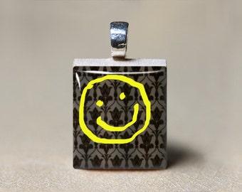 Sherlock Holmes Pendant, Sherlock Bored Jewelry, Sherlock Necklace, Sherlock Gift, 221B Baker Street Yellow Smiley Face Scrabble, Geekery