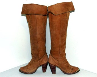 LIght tan western style Tall Cowboy boots in a cowgirl size 6 M with stacked wood high heels