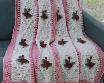 Vintage Diamond Rose Afghan Crochet Pattern PDF