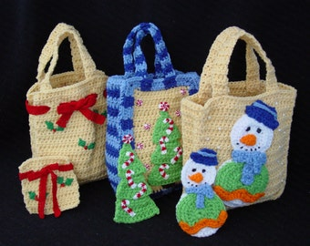 Christmas Gift Bags Set 1 Crochet Pattern PDF