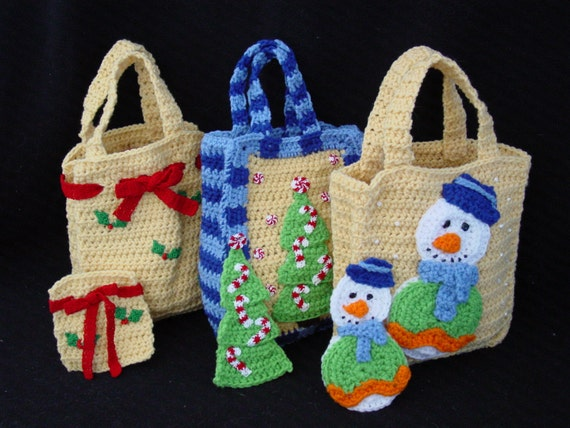 Free Crochet Patterns For Christmas Gift Bags : Christmas Gift Bags Set 1 Crochet Pattern PDF