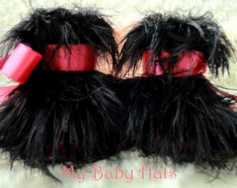 Baby Booties Crochet Booties Crochet Baby Slippers Baby's Fluffy Fur boots in Black and Pink