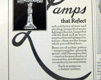 1926 Gump's Lamps Ad San Francisco CA Vintage Lamp