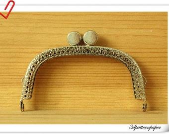 3.5 inch 9cm nickel  metal sewing purse frame Y40