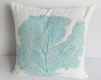 offwhite coral fan pillow.  Decorative aqua blue coral fan embroidery pillow  18 inch coastal pillow. Custom made