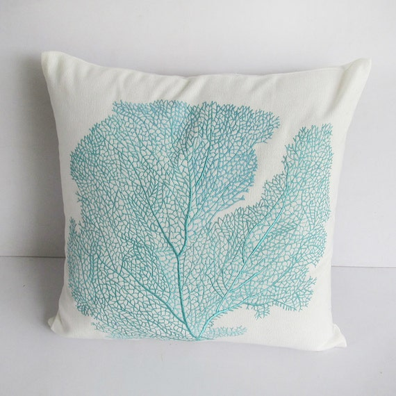decorative aqua blue coral pillow 20inch by Comfyheavenpillows