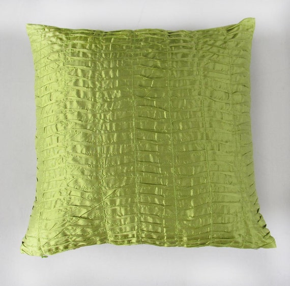 Green Silk Throw Pillow : Items similar to lime green throw pillow - pleated silk - IN STOCK on Etsy