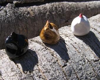Three Small Ceramic Chickens