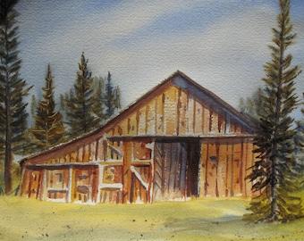 "Original Watercolor Art Landscape Painting JUDE-Title: ""Beautiful Old Barn"""