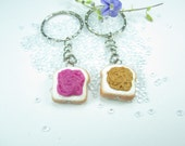 Peanut Butter and Jelly  Friendship keychain (2pcs) - Best friend Food key chain, best friend keychain, best friend gift