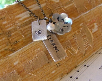 As I Love & Dream Custom Hand Stamped Aluminum Necklace with Peruvian Blue Quartz and Freshwater Pearl by MyBella