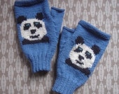 Panda Face fingerless mitts in denim blue 4ply pure wool