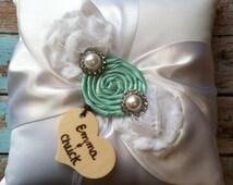 RING BEARER PILLOW / aqua blue / personalized ring bearer pillow , rustic wedding , barn yard ,wedding pillow , wedding pillow