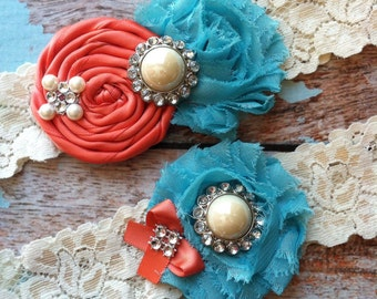 Wedding garter / coral and turquoise  wedding garters/ bridal  garter/  lace garter / toss garter / vintage lace garter
