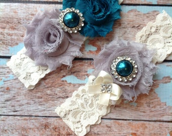 TEAL & GREY wedding garter set / bridal  garter/  lace garter / toss garter included /  wedding garter / vintage inspired lace garter