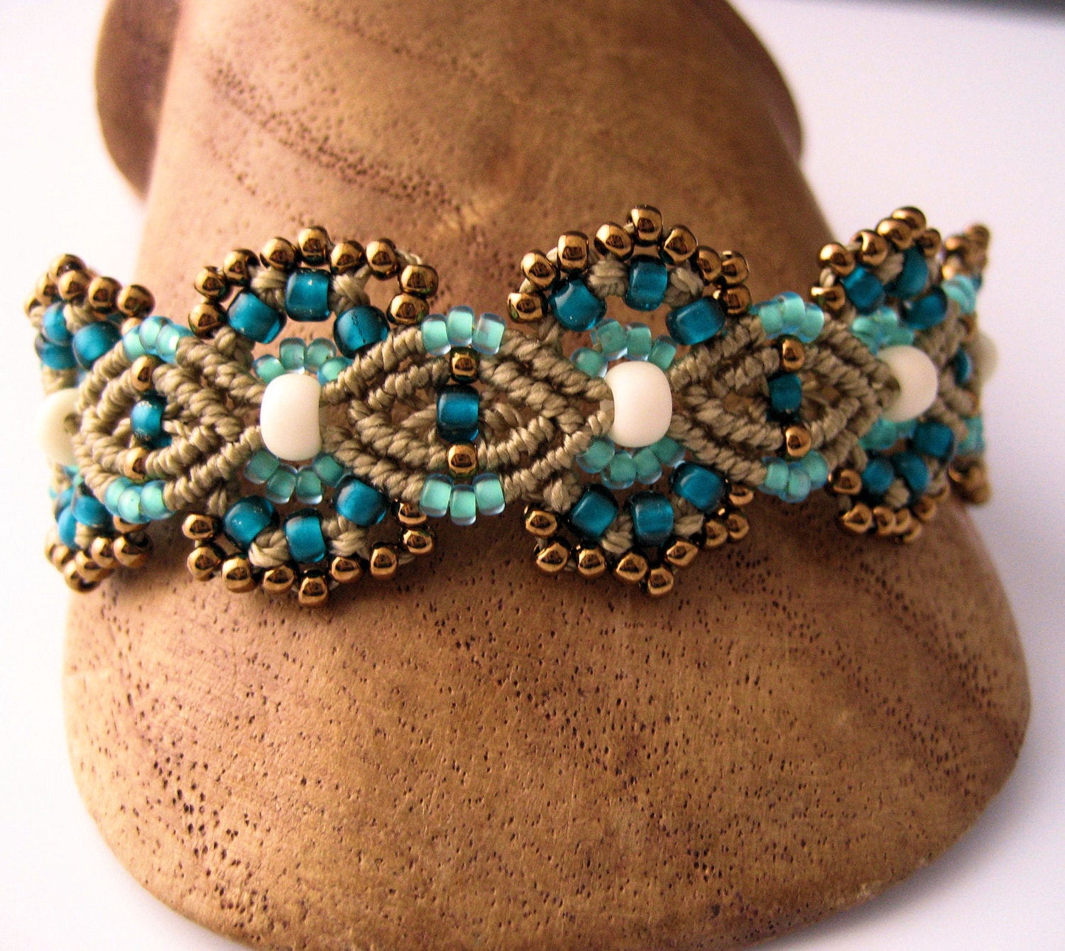 macrame beaded bracelets teal and khaki beaded macrame bracelet micromacrame flowers 4910