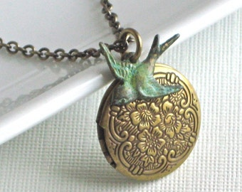 Small Brass Locket  Bird Necklace