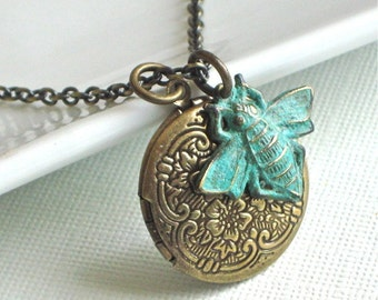 Small Brass Locket Necklace - Bee
